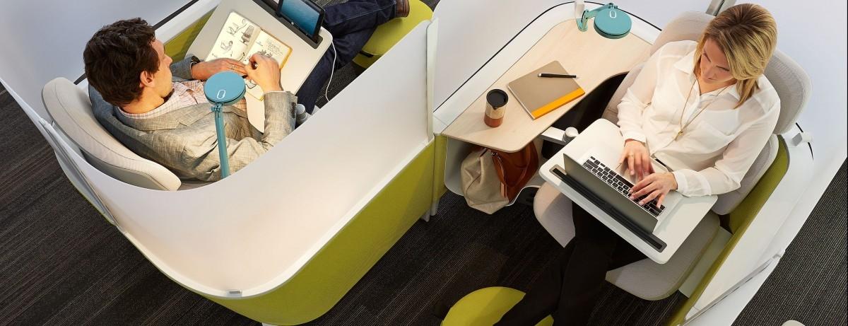 Kapsuła do pracy w gwarnym biurowcu