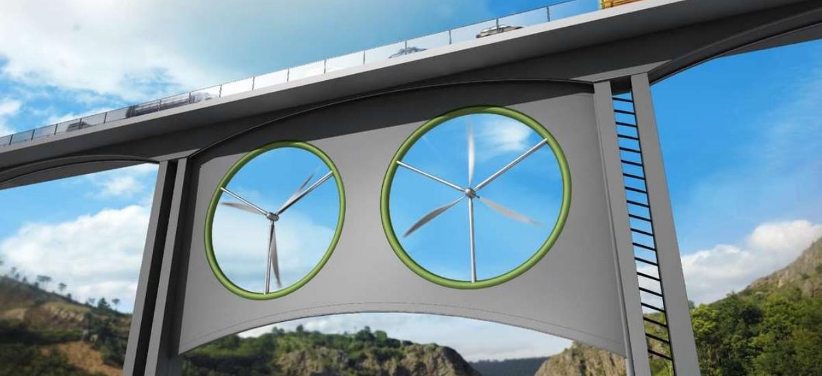 Farma wiatrowa kręci się pod mostem