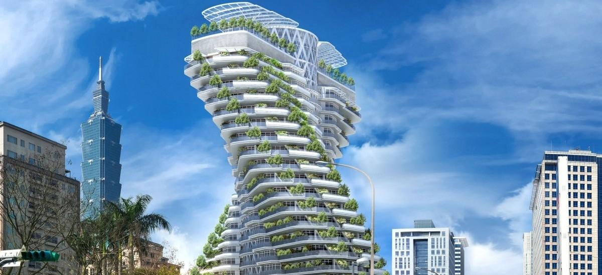 Zielony budynek wygina się w stronę słońca