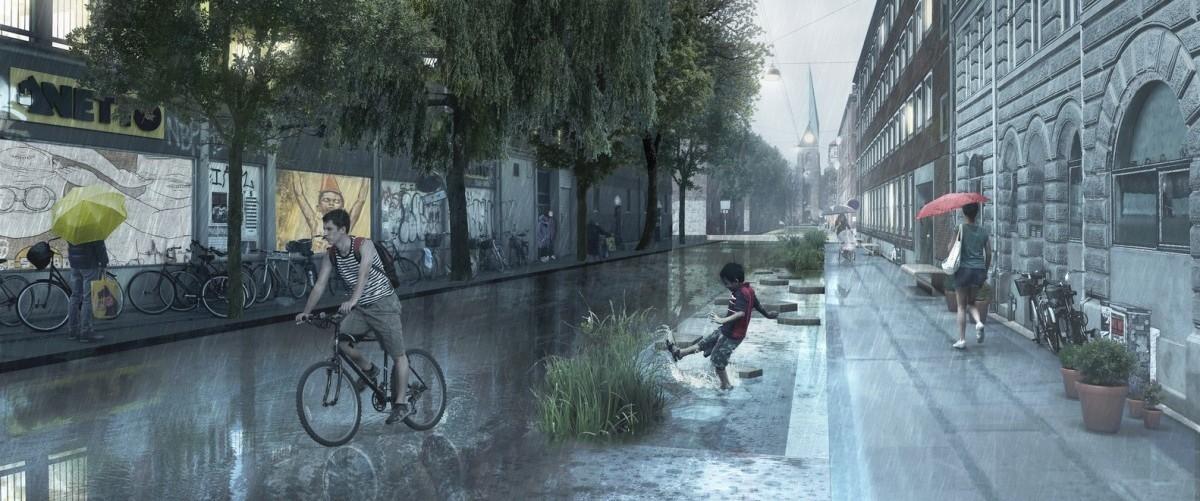 Duńczycy ulice Kopenhagi zamieniają w strumienie