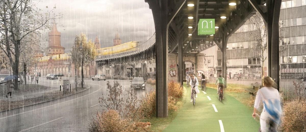 Ścieżka rowerowa pod wiaduktem