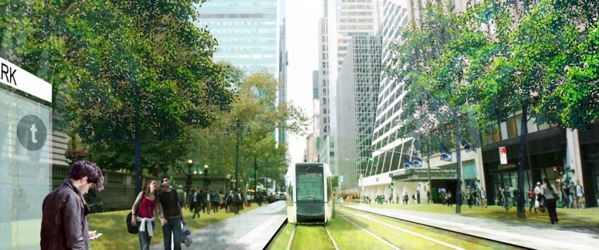 Pieszy bulwar z miejską kolejką w poprzek Manhattanu: pomysł na przywrócenie miasta mieszkańcom