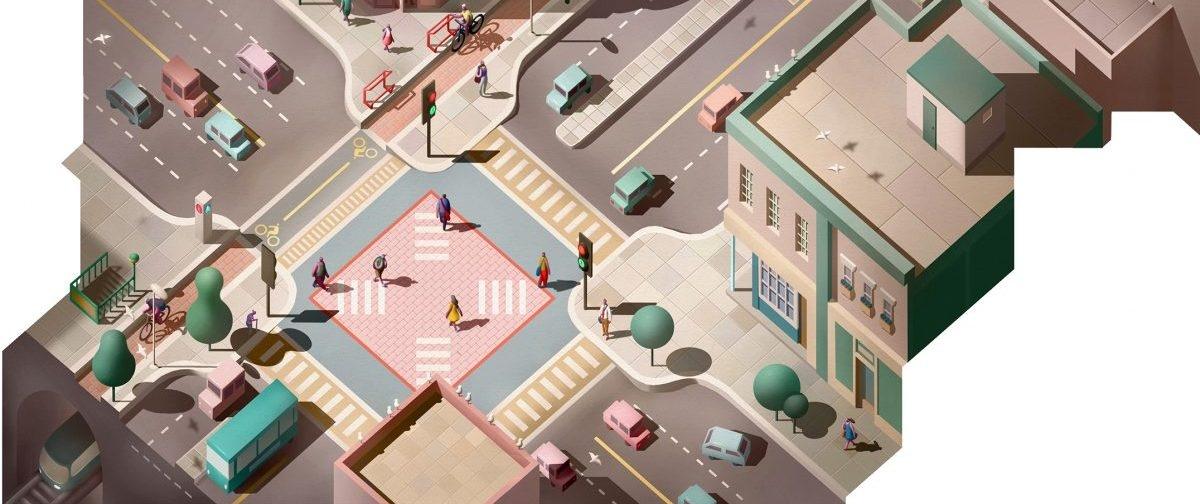 Przejście dla pieszych przyszłości: wielokolorowe i bez świateł, bardziej jak plac niż ulica