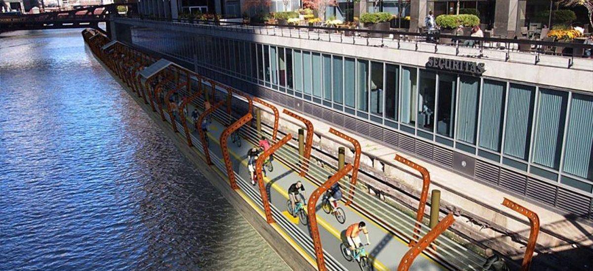 W Chicago chcą wykorzystać rzekę do ułożenia komfortowej ścieżki rowerowej