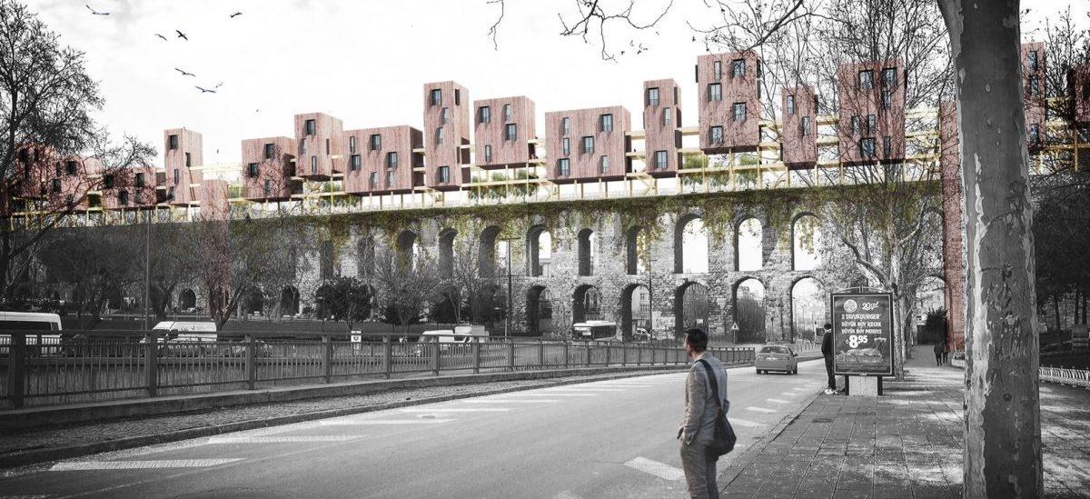 Promenada z drewnianymi domkami na rzymskim akwedukcie