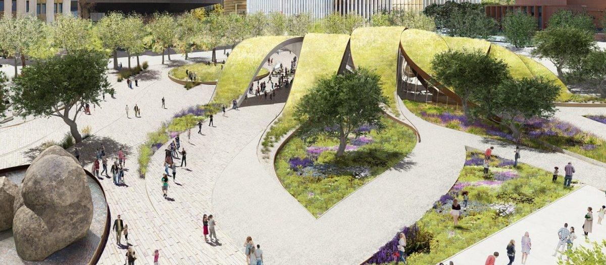 Park pod dachem z trawnika