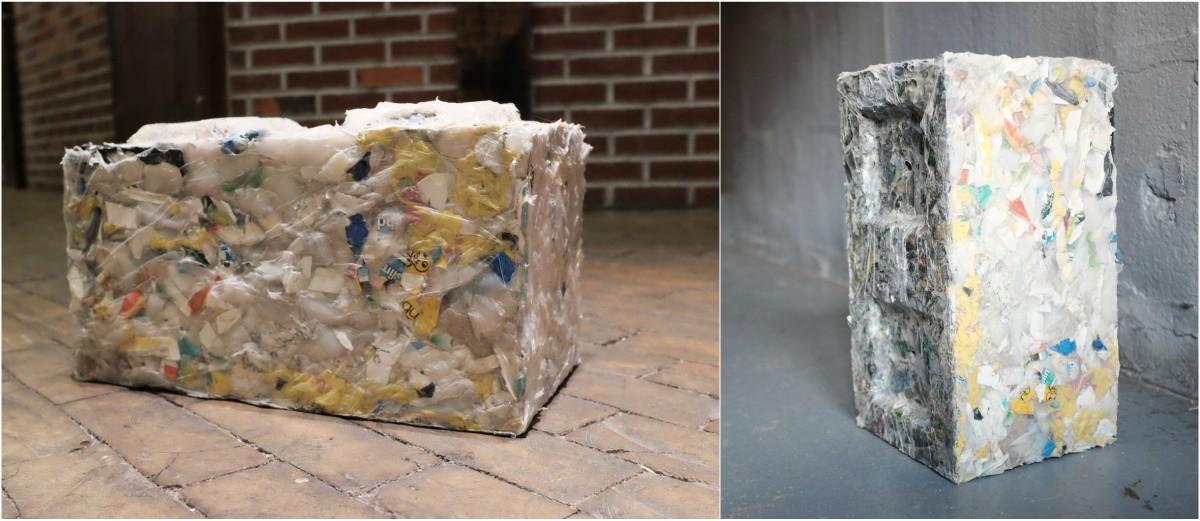 Cegły z morskich śmieci