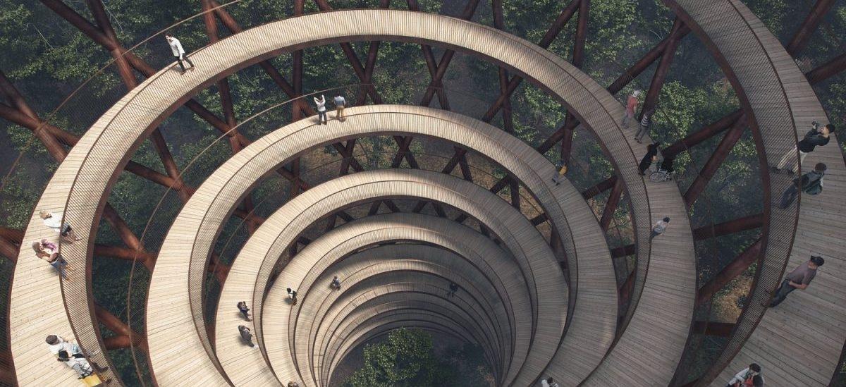 Wieża do obserwacji lasu w pełnym przekroju