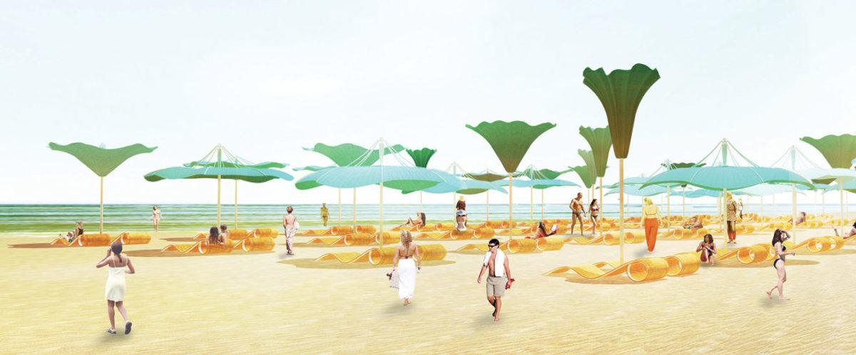 Plażowe parasole będą się otwierać jak pąki kwiatów