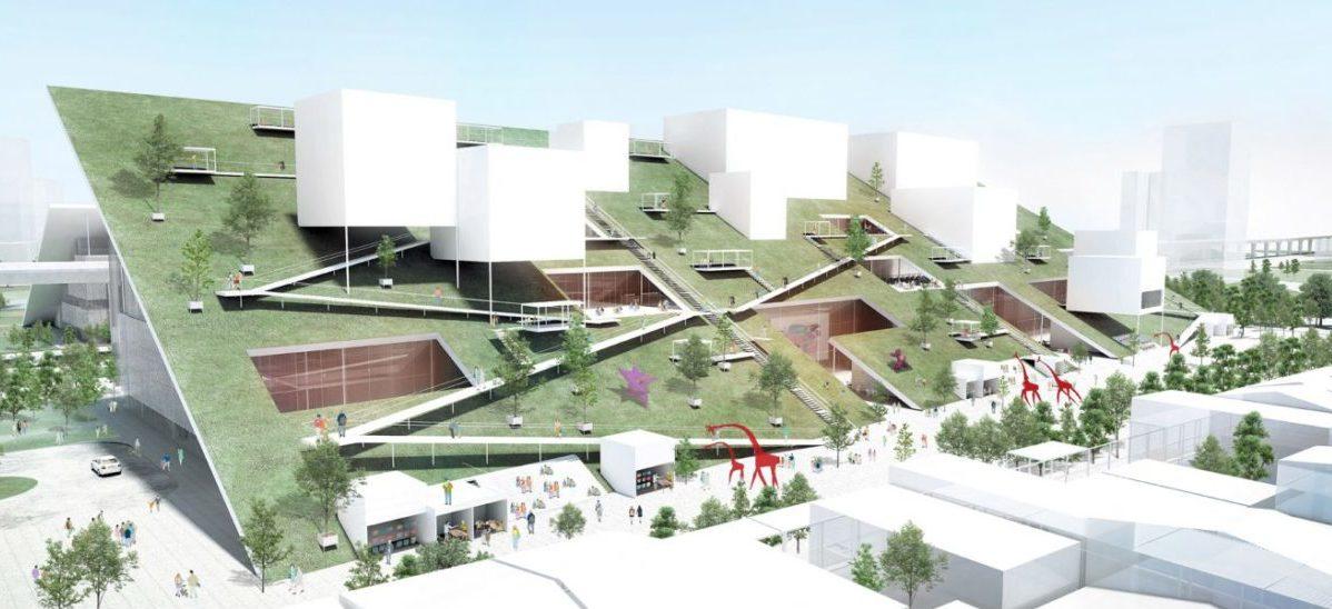 Muzeum sztuki z parkiem na pochyłym dachu