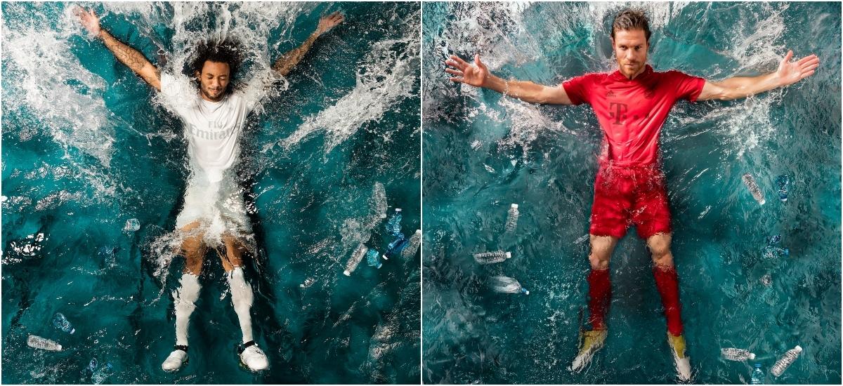 Liga Mistrzów gra w koszulkach z morskich śmieci
