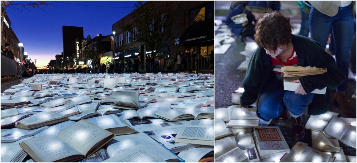 Stronice książek rozświetliły ulice