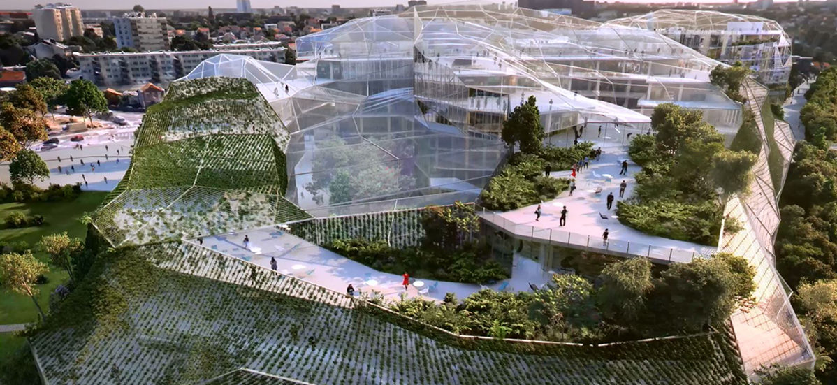 Zielone pawilony z drewna mają łączyć miasto z naturą