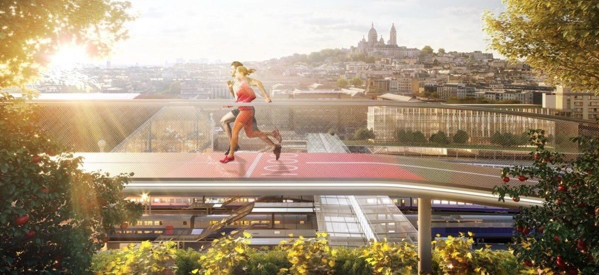 Największy paryski dworzec z zielonym dachem i ścieżką do biegania